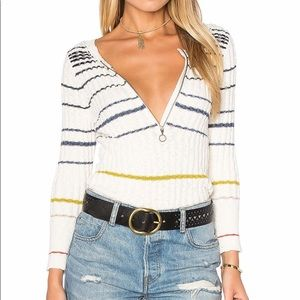 Free People Cream Rossi Stripe Ribbed Knit Sweater